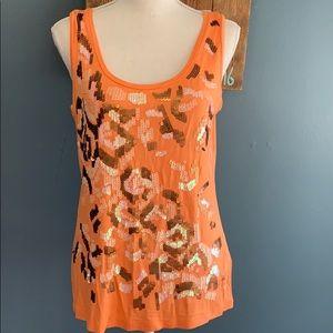 Calvin Klein   Tangerine Sequined Tank Top